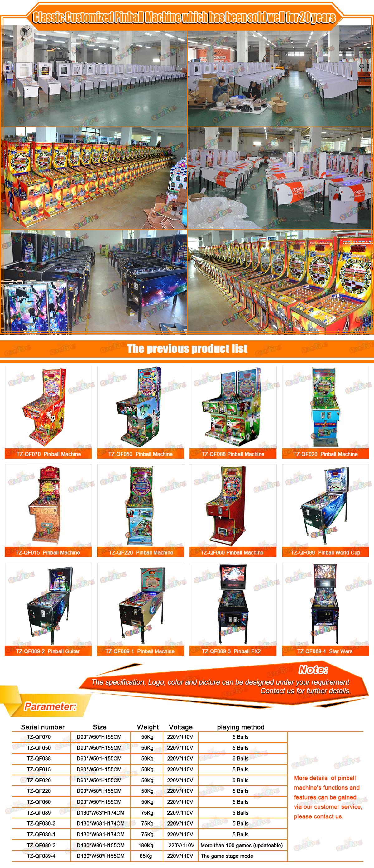 中国工厂鳍状肢虚拟迷你弹球出售街机虚拟游戏机弹球机成人