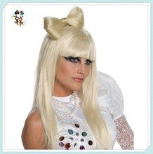 Cheap Lady Gaga Bow Blonde Synthetic Party Wigs HPC-1119