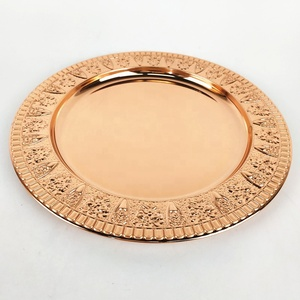 2018 Top Sale Wedding Decor Copper Hammered Rim 13 inch Charger Plates/Copper Rose gold charger plate