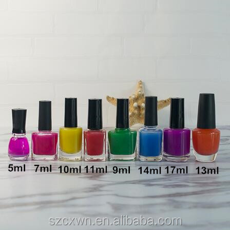 High quality 5ml 7ml 9ml 10ml 11ml 14ml 17ml in stock clear glass nail polish bottle for nail oil personal care packaging