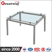 Best selling high quality metal tea table with glass top metal frame glass tea table