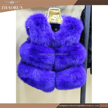 Russian Style Winter Blue Fox Fur Vest Fur Coat For Women Modern Section Fox Fur Vest Factory Price Discount Free Inspection