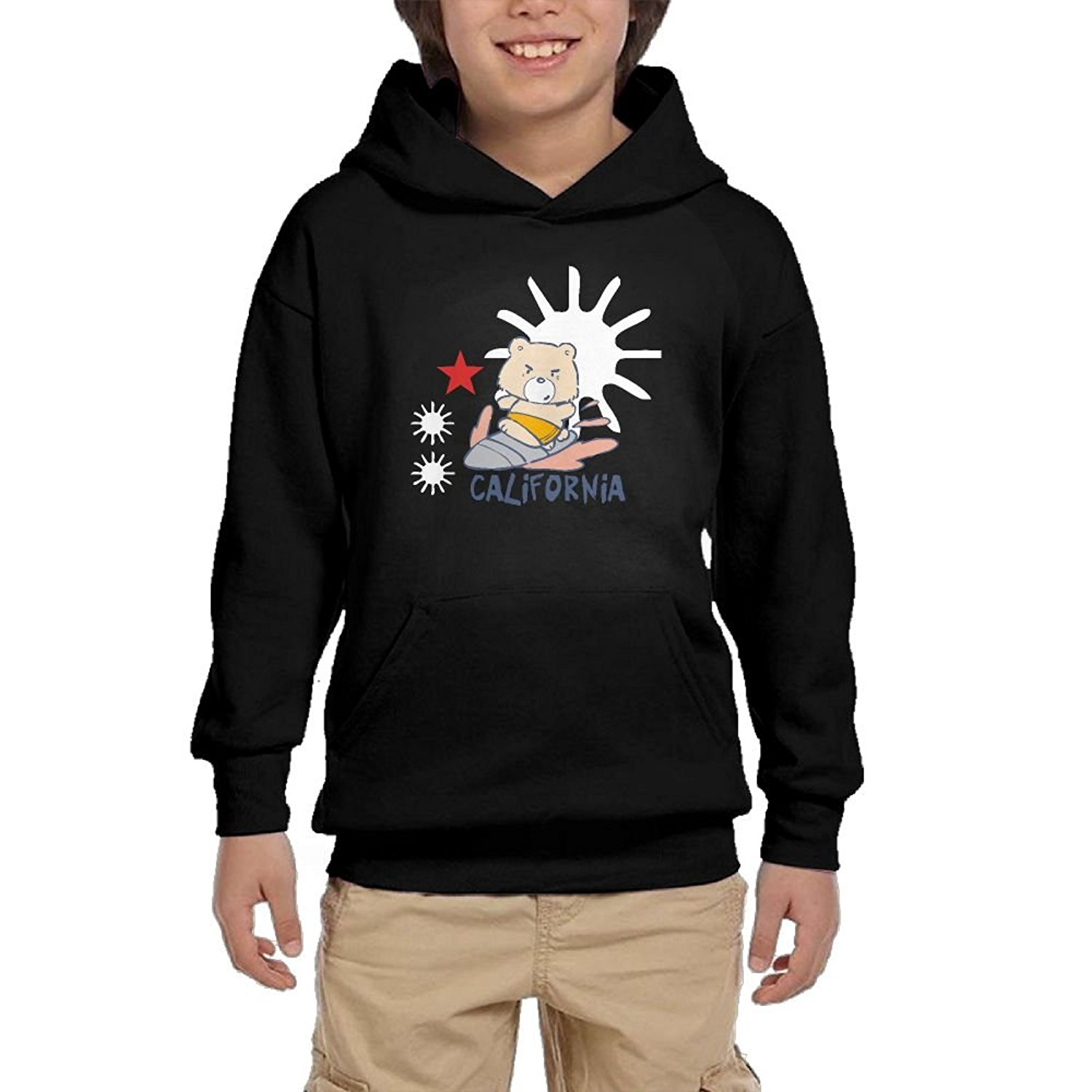 be0bf04865b15 Get Quotations · HUH HOODIES California Surf Bear Youth Casual Pullover Hoodies  Sweatshirts With Pocket