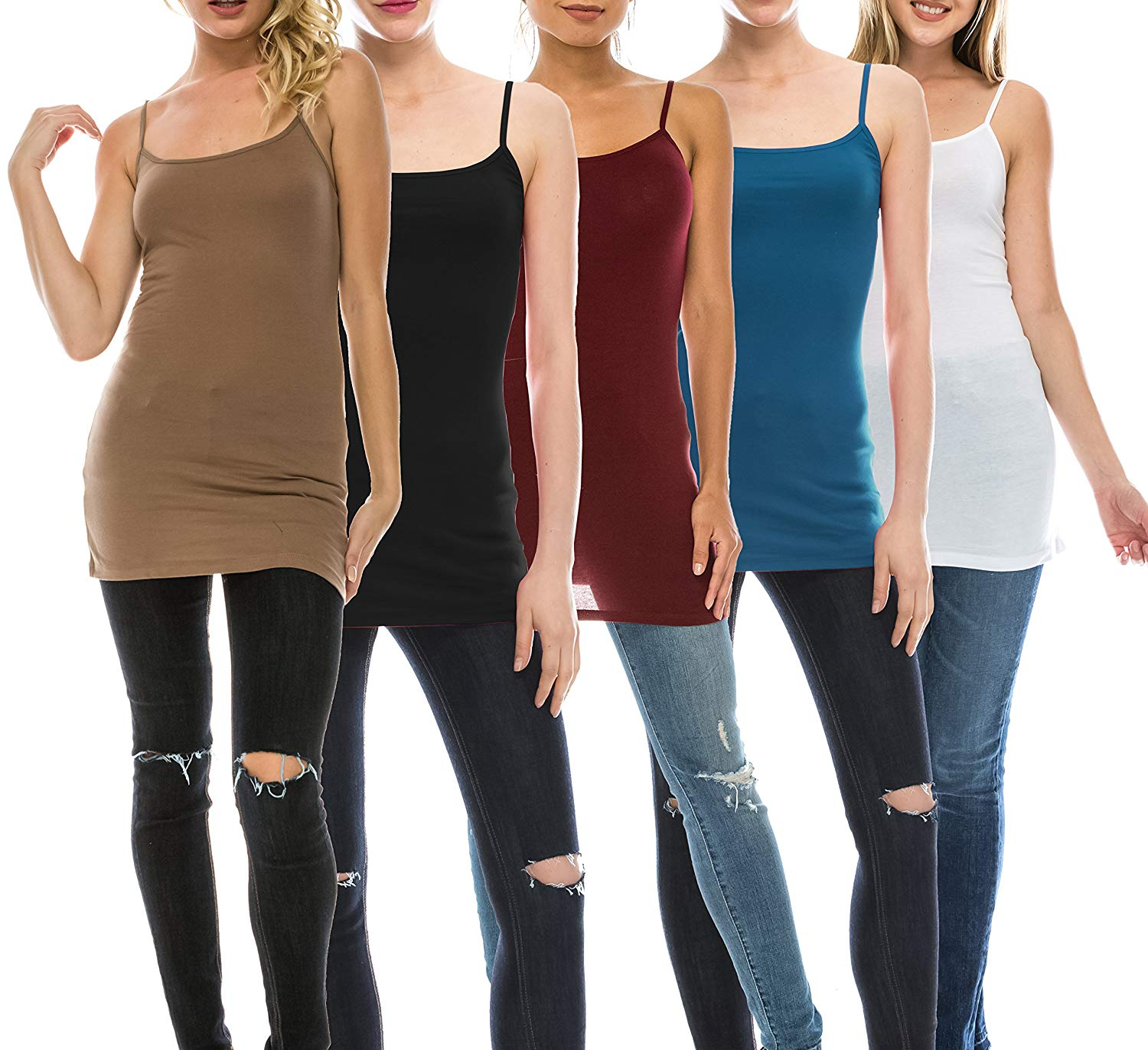 f9dbe69184f6b Get Quotations · Nolabel Multi Pack Womens Basic Long Length Adjustable  Spaghetti Strap Cami Tank Top Camisole Plus (