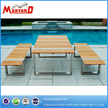 Teak Wood Outdoor Stainless Steel Pool Table Sets