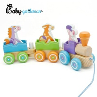 Best sale children educational wooden animal train toy for pull along Z05092C