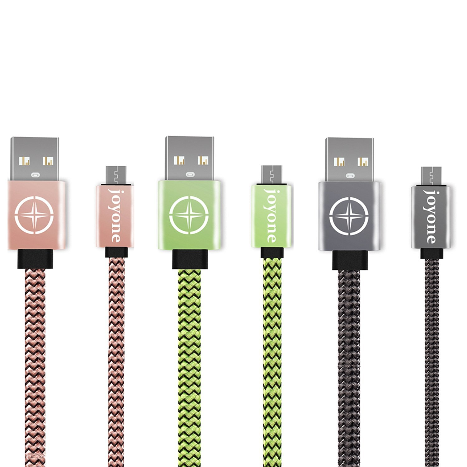 Micro USB Cable, JOYONE 3-Pack 3.3ft/1m High Speed Flat Nylon Braided Charging/Sync Data Durable USB Cable for Android, Samsung, Nokia, HTC and More, 3 Colors (Pink, Gray, Green)