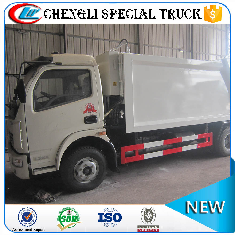 Dongfeng 4x2 6CBM white garbage compactor waste collection trucks for sale