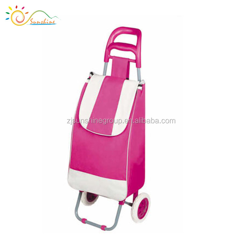 Metal shopping trolley folding laundry cart with nylon bag