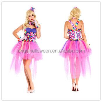 Snoep Meisje Sexy Multi Kostuum Clown Zoete Jurk Circus Coloured tshdQr