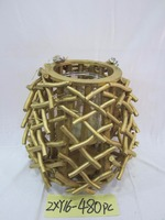 100 % Handmade Home decoration wooden and willow candle holder with natural materials ZXY16-399-2PC