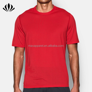 Mens plain red round collar sport t shirt 100% polyester quick dry blank t shirt