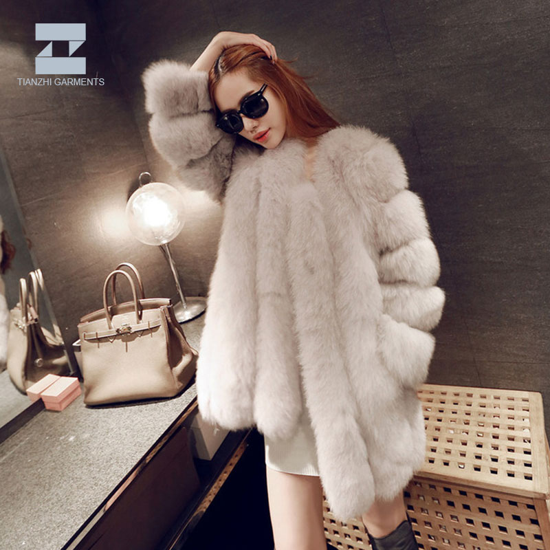 Customized women winter autumn luxury fluffy faux fur coat