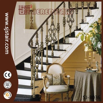 Antique Brass Electroplate Aluminum Stair Handrail For Decoration