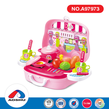 Role play funny kids pretend cooking kit food pink set toy kitchen playset in suitcase