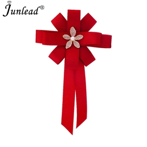 Junlead Hot Fashion Collar Shirt tie Fabric Ribbon bow Brooches Jewelry Crystal Flower Bowknot Brooches and Pins For Women Dress