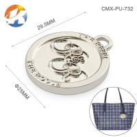 Circle With Embossed Logo Metal Logo For Bags Silver