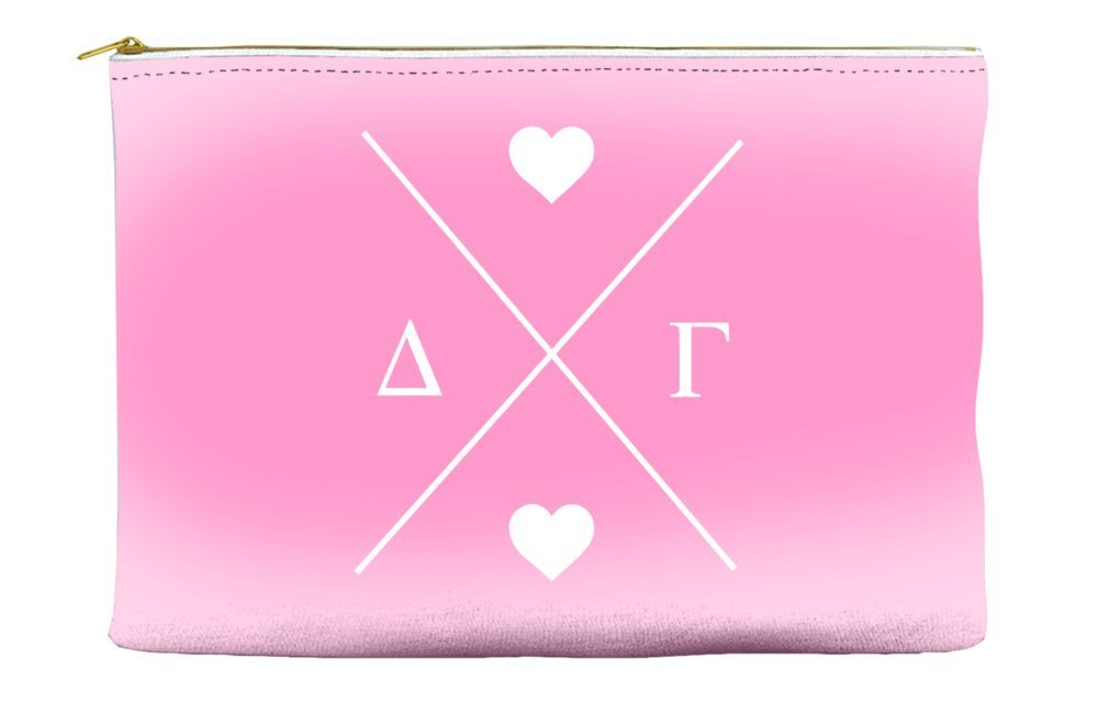 Delta Gamma (DG) Hipster Logo Pink Cosmetic Accessory Pouch Bag for Makeup Jewelry & other Essentials