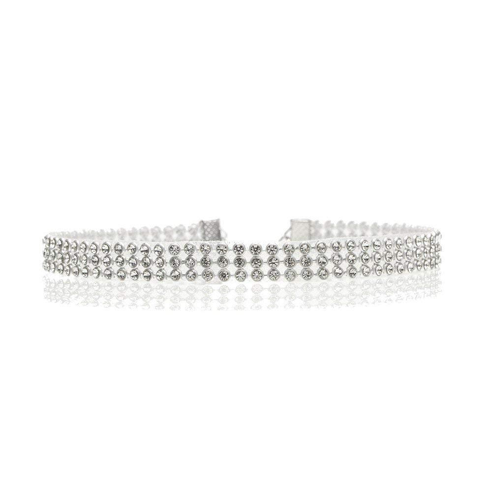 Gbell Full Diamond Crystal Choker,Rhinestone Necklace Chain Wedding Jewelry for Women Girls, Ideal for Party Costume,Wedding,Other Occassion, 0.39inch,0.63inch,0.98inch,1.50inch Width
