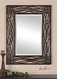 Ambient Distressed Mocha Brown Forged Metal With Black Undertones And Golden Brown Highlights Modern Rectangular Wood Mirrors
