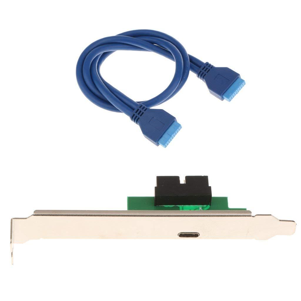 MonkeyJack 50cm 19Pin Female to USB 3.1 Type C Adapter Cable w/ PCI Profile Bracket