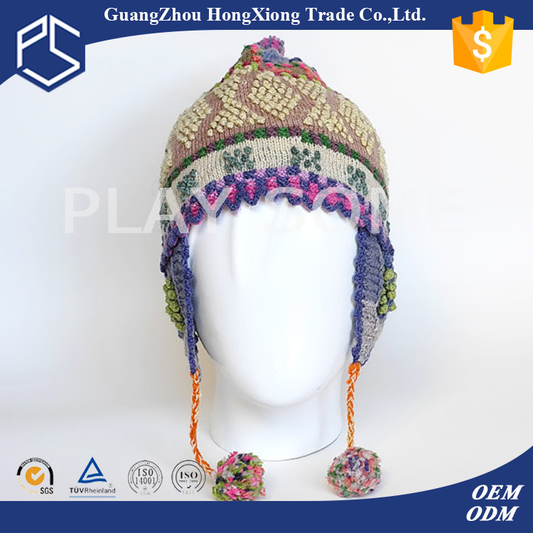 Yuhua new promitional earflaps knitted baby winter hat
