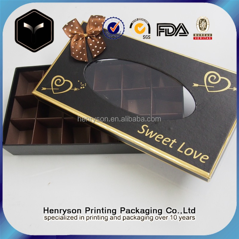 Direct Supplier Black Golded Color Luxury Used in Chrismas Birthday Chocolate Box