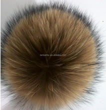 fashion factory direct wholesale price big size raccoon fur ball/pompoms for hat and decoration