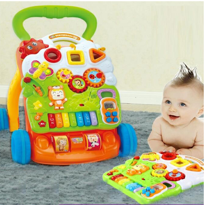 Multifunction plastic push music learning baby walker toys for wholesale