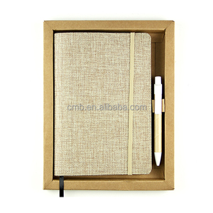 Customized Fabric Notebook and Pen Set with Gift Box Packaging