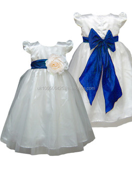 8226db62f62 royal blue sash ivory flower girl dress girls party dress special occasion dress  girls wedding dress