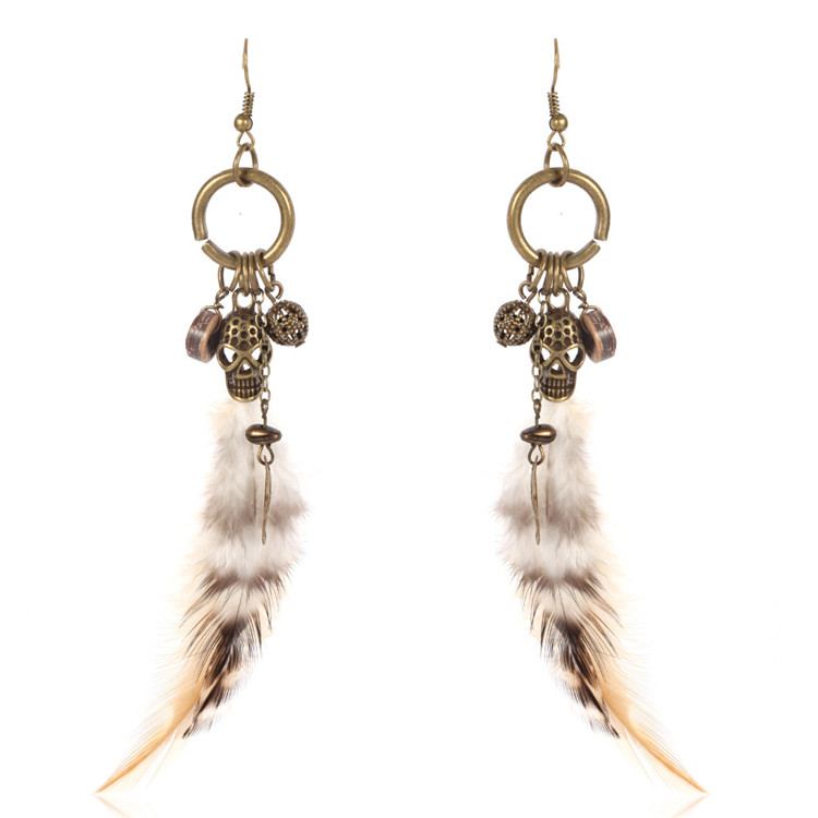 2018 Factory Sell High Quality Vintage Design Fashion Jewelry Feathers Earrings