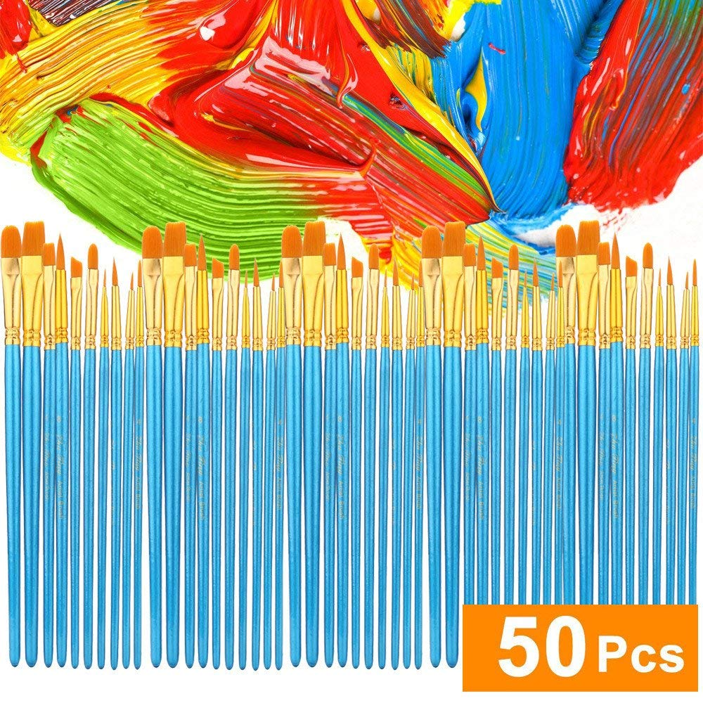 Clearance!!! Hongxin Acrylic Paint Brush Set 5 Packs/50 Pcs Watercolor Gouache Paint Brushes Different Shape Round Pointed Tip Nylon Hair Painting Brush Set Art Supplies Back to School Supplies