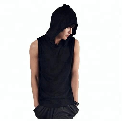 OEM Summer new men's bodybuilding Fitness sleeveless vest cotton hooded Tank Tops Men's golds Sweatshirt Hoodies Solid Singlets