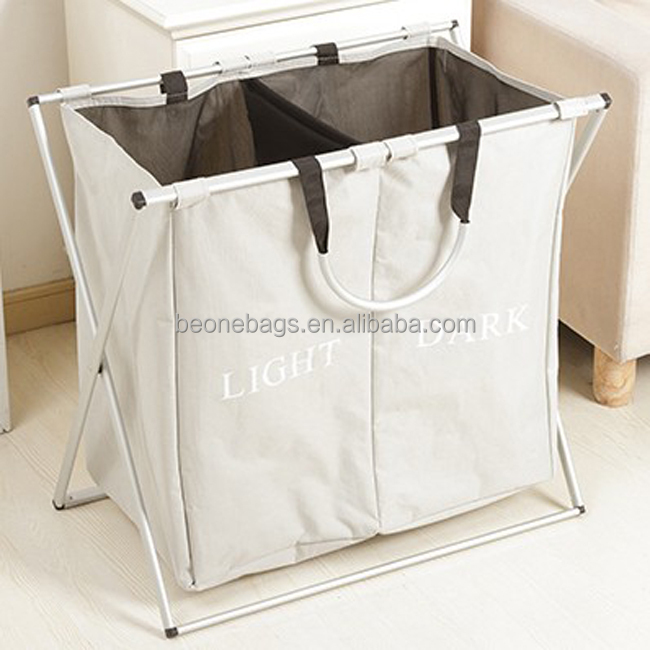 Custom Logo Collapsible Double Laundry Basket