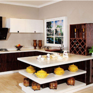 acrylic door panel with cultury tray waterproof kitchen cabinet in cheap price