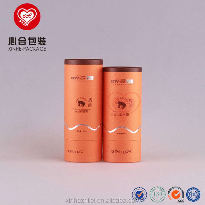 Fancy orange cylinder customized round paper box for personal care packaging