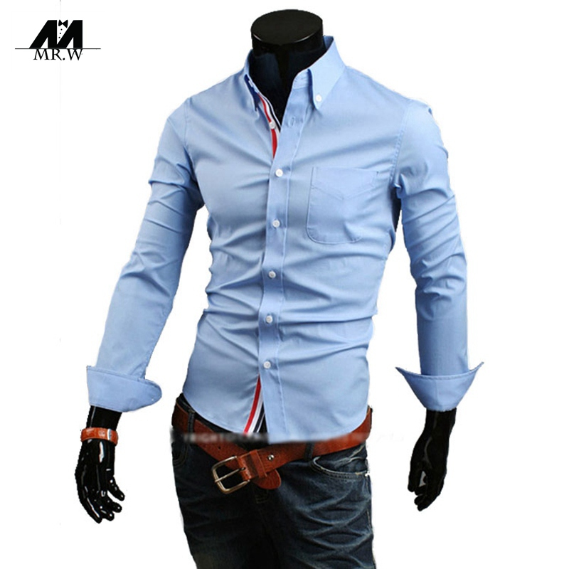 1bd3b20ef2 Get Quotations · 2015 New Fashion Formal Design Mens Shirts Slim Fit Dress  Shirts Tops Male Casual Long Sleeve