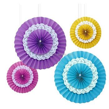 Lace Doilies Paper Rosettes Pinwheel Diy Backdrop Hanging Paper Fans