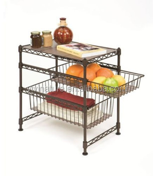 metal wire kitchen rack with 4 wheels,kitchen storage rack trolley