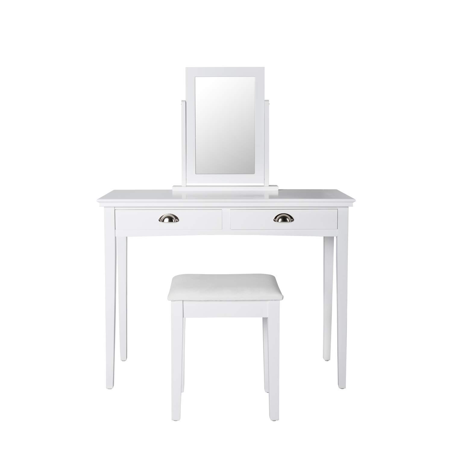 Get Quotations · White Vanity Table Set with Mirror and 2 Large Drawers 9be38de84f