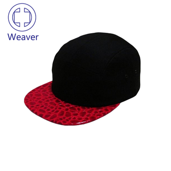 7aa8e4ff4b3 Fashion 100 Polyester 5 Panel Baby Hat Snapback Cap   Leather Design 5  Panel Blank Cap