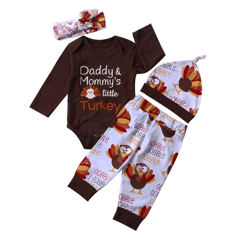 efadab7d431 Get Quotations · 4Pcs Set Baby Girl Boy Thanksgiving Outfit Long Sleeve  Romper Bodysuit+Turkey Pants+