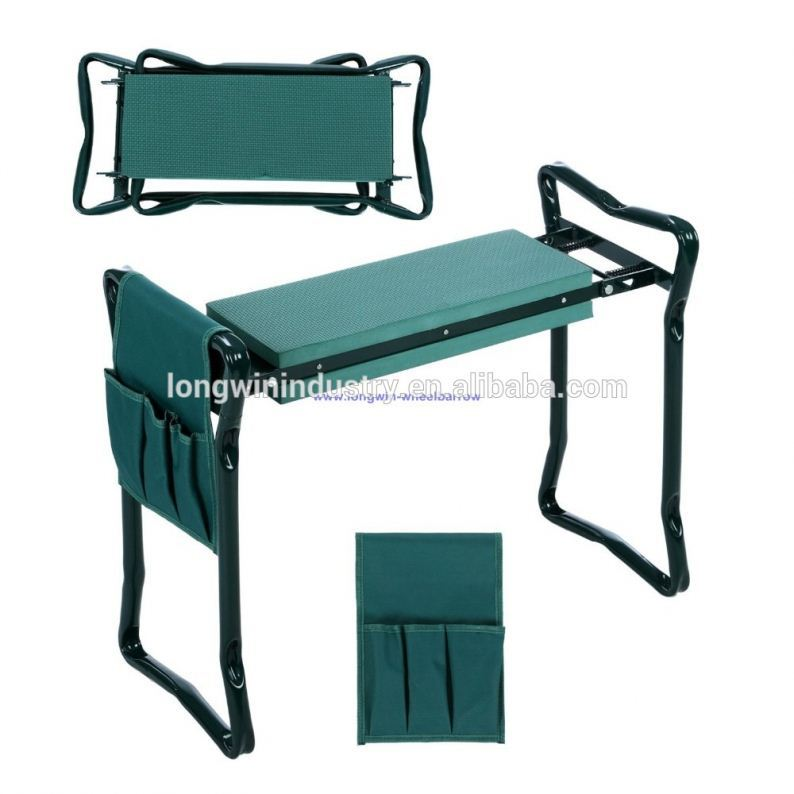 Foldable garden kneeler with tool bag