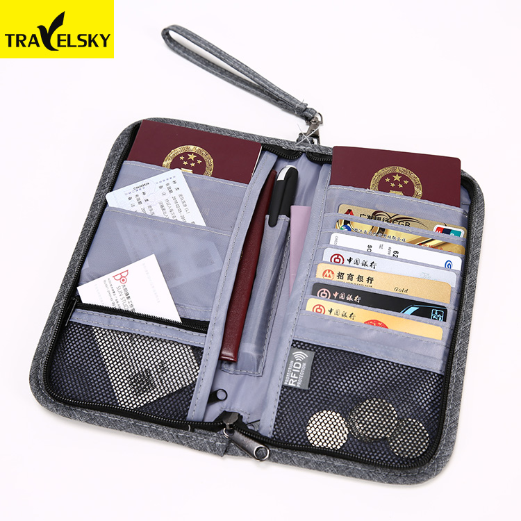 Travelsky High quality unisex water-resist rfid blocking travel passport <strong>wallet</strong>