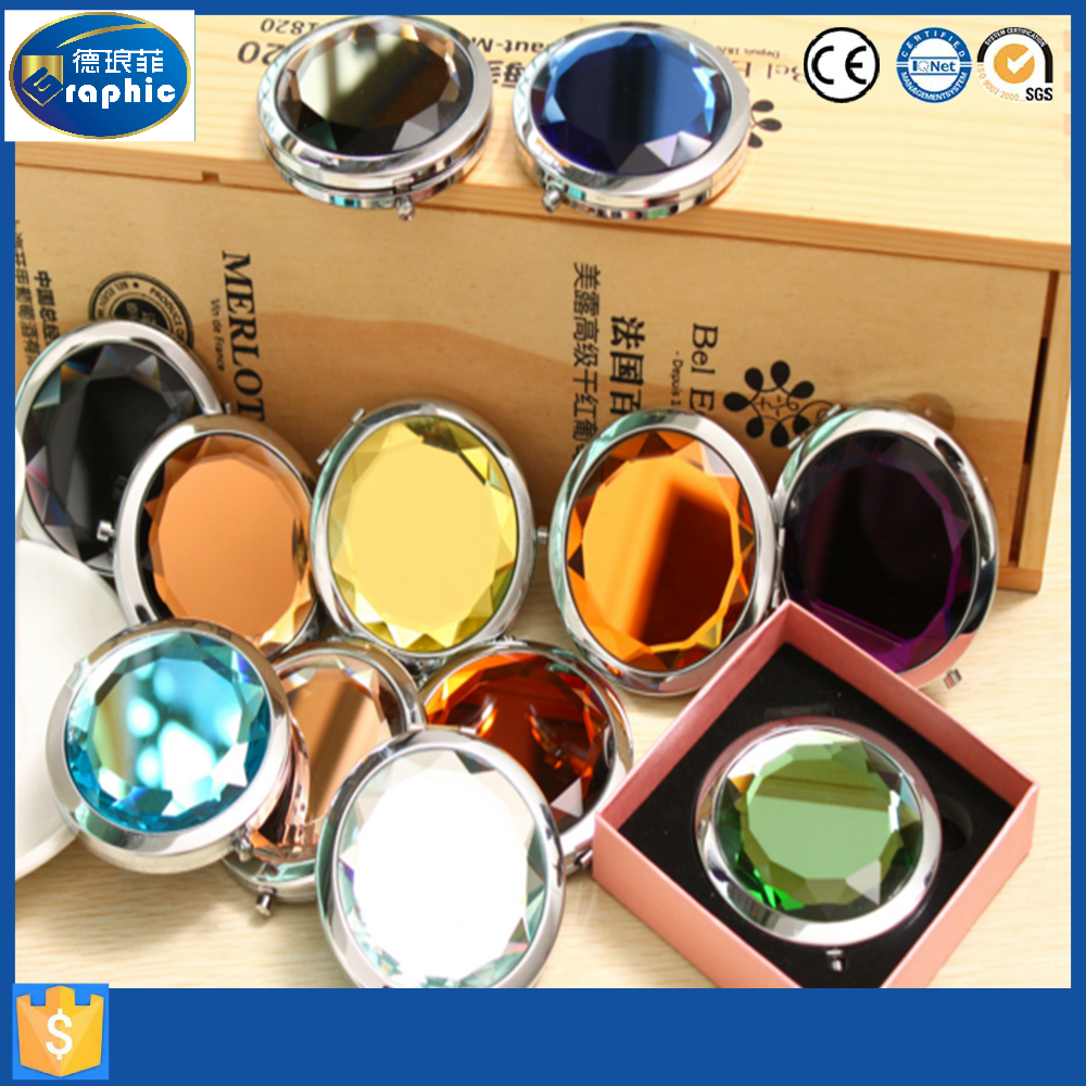 Cheap round pocket aluminium frame comestic mirror in China