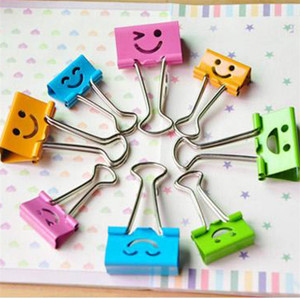 Colorful cute lovely smiley face metal paper clips Binder votes mini clips office school Stationery 40pcs/barrel