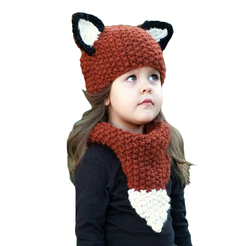 feed76d6524 Christmas Kids Warm Knit Caps Handmade Woven Fox Animal Fashion Ear Flaps  Windproof Crochet Baby Winter Scarf And Hat Set