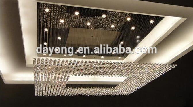 New Square Modern String Big Crystal Lighting Hotel Lobby Chandelier Lighting Model : 5008