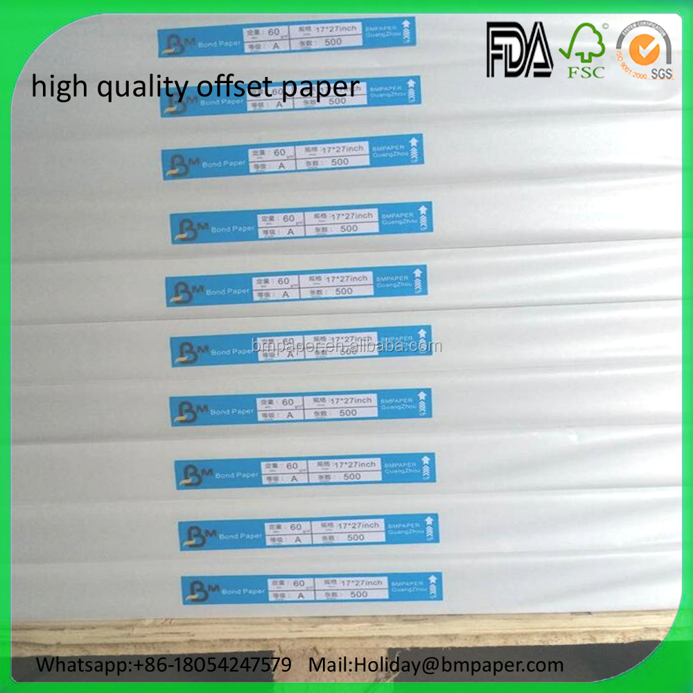 Hot Sale 90gsm Uncoated Woodfree offset printing paper mills in china